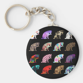 Cat Licking its Paw Aztec Floral Stripes Pattern Basic Round Button Keychain
