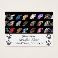 Cat Licking its Paw Aztec Floral Stripes Pattern Business Card
