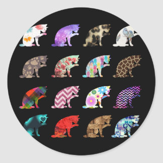 Cat Licking its Paw Aztec Floral Stripes Pattern Classic Round Sticker