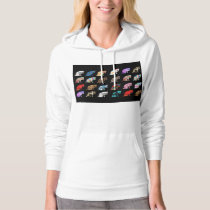 Cat Licking its Paw Aztec Floral Stripes Pattern Hoodie