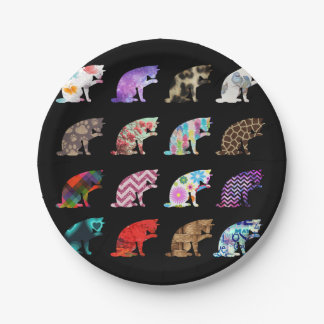 Cat Licking its Paw Aztec Floral Stripes Pattern Paper Plate