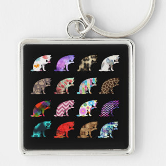 Cat Licking its Paw Aztec Floral Stripes Pattern Silver-Colored Square Keychain