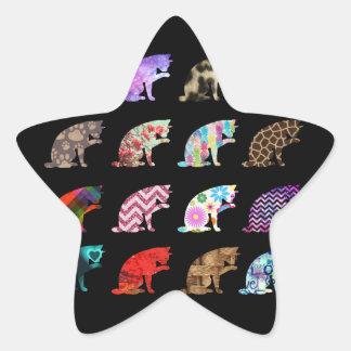 Cat Licking its Paw Aztec Floral Stripes Pattern Star Sticker