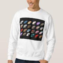 Cat Licking its Paw Aztec Floral Stripes Pattern Sweatshirt