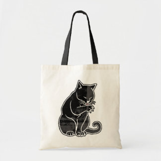 Cat Licking Paw by Mudge Tote Bag
