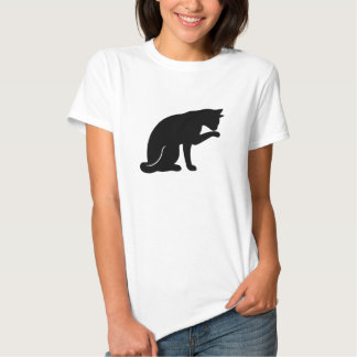 Cat Licking Paw T-shirt (black silhouette)