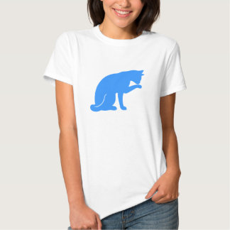 Cat Licking Paw T-shirt (blue silhouette)