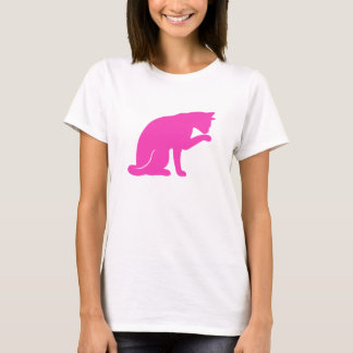 Cat Licking Paw T-shirt (pink silhouette)