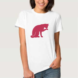 Cat Licking Paw T-shirt (red silhouette)