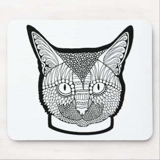 Cat Line Art Design Mouse Pad