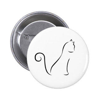 Cat Line Drawing Pinback Buttons