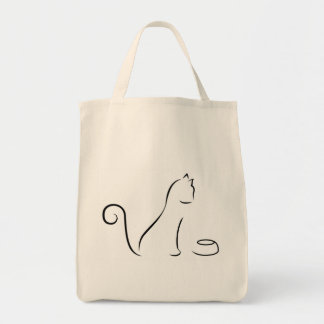 Cat Line Drawing with Bowl Tote Bag