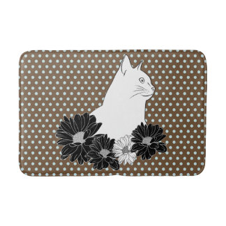 Cat line drawing with flowers, polka dots bathroom mat