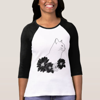 Cat line drawing with flowers T-Shirt