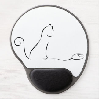 Cat Line Drawing With Mouse Gel Mouse Pad