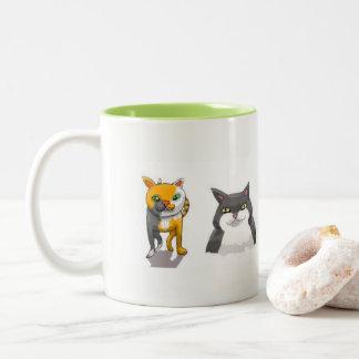 Cat Lineup Two-Tone Coffee Mug