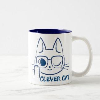 CAT LISTO (azul) Taza De Dos Tonos