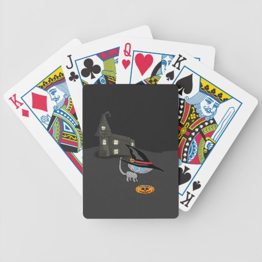 Cat Look At His Halloween Basket Playing Cards