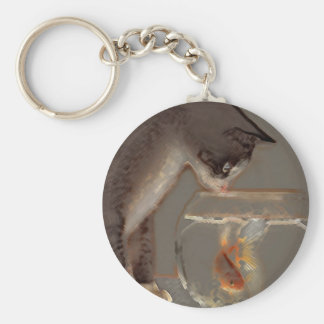 Cat Looking at Goldfish Bowl Keychain