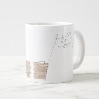 Cat looking with empty dish large coffee mug