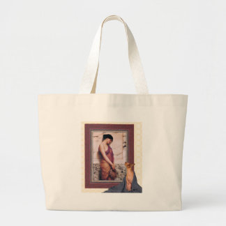 cat looks at Godward painting Large Tote Bag