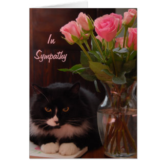 Cat Loss Sympathy with Pink Roses Card