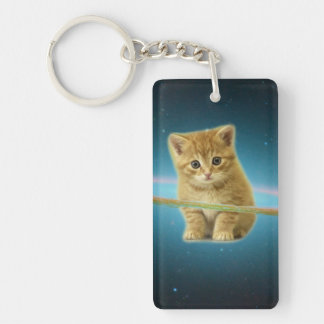 Cat lost in space keychain