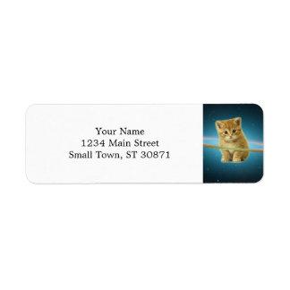 Cat lost in space label