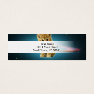 Cat lost in space mini business card