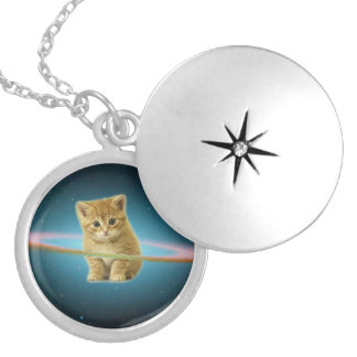 Cat lost in space silver plated necklace