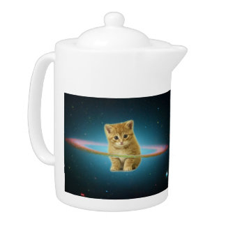 Cat lost in space teapot