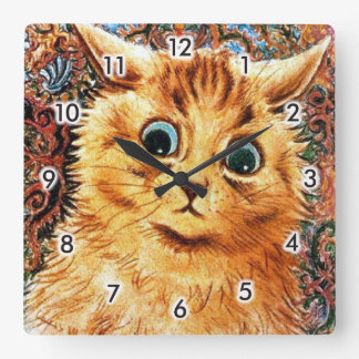 Cat, Louis Wain Square Wall Clock
