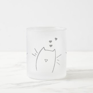 Cat love 10 oz frosted glass coffee mug