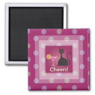 Cat Love Cocktail Pink Cheers Custom Magnet