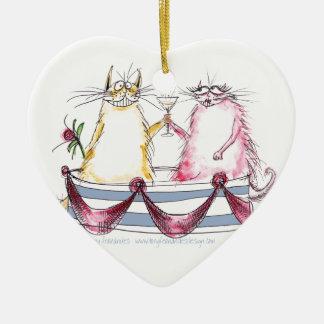 cat love - funny cartoon, tony fernandes ceramic ornament