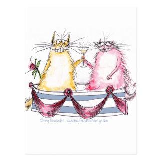 cat love - funny cartoon, tony fernandes postcard