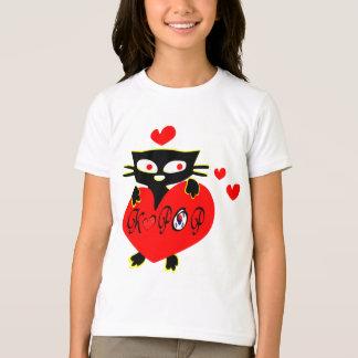 Cat love K POP vector art girl's ringer t shirt