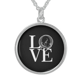 Cat Love on Black Sterling Silver Necklace