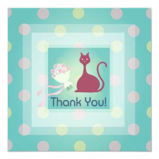 Cat Love Thank You Flat Invitation Card Square