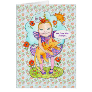 """Cat  """"Love You"""" Customized Name for Child Card"""