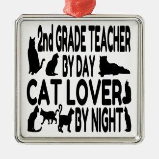 Cat Lover 2nd Grade Teacher Metal Ornament
