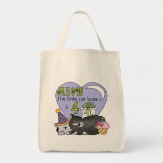 Cat Lover 4th Birthday  T-shirts and Gifts Tote Bags