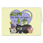 Cat Lover 4th Birthday  T-shirts and Gifts Greeting Cards