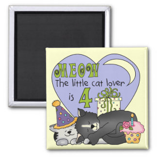 Cat Lover 4th Birthday  T-shirts and Gifts 2 Inch Square Magnet