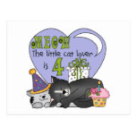 Cat Lover 4th Birthday  T-shirts and Gifts Postcards