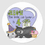 Cat Lover 4th Birthday  T-shirts and Gifts Round Stickers