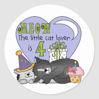 Cat Lover 4th Birthday  T-shirts and Gifts Classic Round Sticker