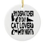 Cat Lover 911 Dispatcher Double-Sided Ceramic Round Christmas Ornament