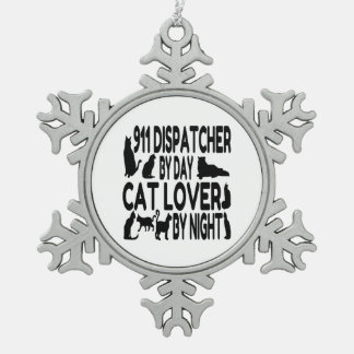 Cat Lover 911 Dispatcher Snowflake Pewter Christmas Ornament