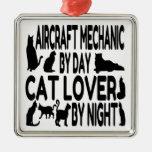 Cat Lover Aircraft Mechanic Christmas Ornaments